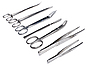 Photo 300 DPI: Surgical tools - scalpel, forceps, clamps, scissors