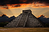 Mayan pyramid in Chichen-Itza, Mexico, sunset | Stock Foto
