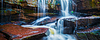 在丛林全景热带瀑布   免版税照片