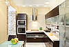 Modern Kitchen interior in warm tones top view | Stock Foto