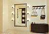 Photo 300 DPI: Hall in beige tones with hallstand and golden mirror