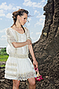 Attractive lady in white in quarry | Stock Foto