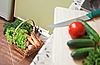Photo 300 DPI: Picnic basket with vegetables in Kitchen