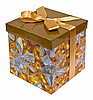 Photo 300 DPI: Fancy box with Golden ribbon bow on white