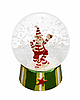 Photo 300 DPI: Transparent glass ball with Santa Claus and snow inside
