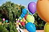 Vivid color balloons on green | Stock Foto