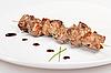 Pork kebab on white plate | Stock Foto