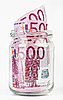 Photo 300 DPI: 500 Euro bank notes in glass jar