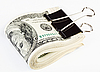 100 US dollars banknotes fasten with paper clip | Stock Foto