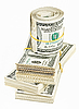 Many bundle and roll of US 100 dollars bank notes | Stock Foto