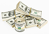 Many bundles and roll of 100 dollars banknotes  | Stock Foto