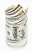 100 US dollars banknotes in glass jar and bundle  | Stock Foto