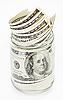 Банкноты 100 долларов США банкноты в стеклянной банке | Фото
