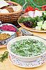ID 3017204 | Summer kvass soup (okroshka) on served table | High resolution stock photo | CLIPARTO