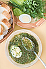 Green chicken soup with egg | Stock Foto