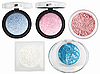 Five multicolored eyeshadows over white | Stock Foto