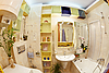 Modern Bathroom in yellow and blue vivid colors | Stock Foto