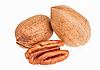 Few pecan nuts isolated on white, one cracked  | Stock Foto