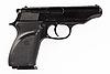 Black pistol isolated on white    Stock Foto