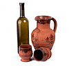 Photo 300 DPI: Wine bottle, clay pot and cup