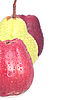 Red apples and green pear with water drops. | Stock Foto