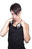 Junger Mann mit Kopfhörern | Stock Foto