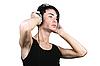 年轻人听音乐   免版税照片
