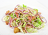 Onion salad of meat with roast vegetables   Stock Foto