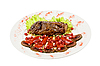 Beef steak con granada | Foto de stock