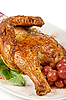 절반 구운 닭 | Stock Foto