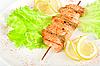 Salmon kebab closeup   Stock Foto