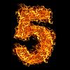 Feuer-Ziffer 5 | Stock Foto