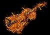 Klasyczne skrzypce w ogniu | Stock Foto