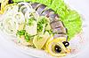 감자와 야채와 청어   Stock Foto