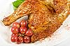절반 구운 닭 근접 촬영   Stock Foto
