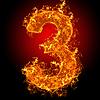 Feuer-Ziffer 3 | Stock Foto