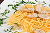 Pasta with chicken meat | Stock Foto