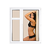 Window with sexy girl in lingerie | Stock Foto