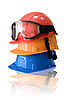Photo 300 DPI: Many colored hardhats and goggles