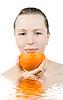 Dziewczyna z sokiem pomarańczowym | Stock Foto