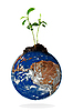 Plant growing on the earth globe | Stock Foto