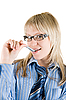 Business woman with pen at mouth | Stock Foto