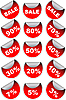 Photo 300 DPI: red sale labels and discount stickers