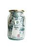 유리 항아리에 러시아어 돈 | Stock Foto