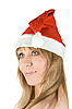 Happy pretty santa woman | Stock Foto