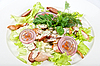 Photo 300 DPI: salad dish with sausage