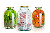 Jars with cucumbers, tomatoes and money | Stock Foto