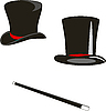 Vector clipart: Magic hats and cane