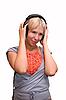 Girl listening to music | Stock Foto