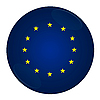 Photo 300 DPI: European union button with flag